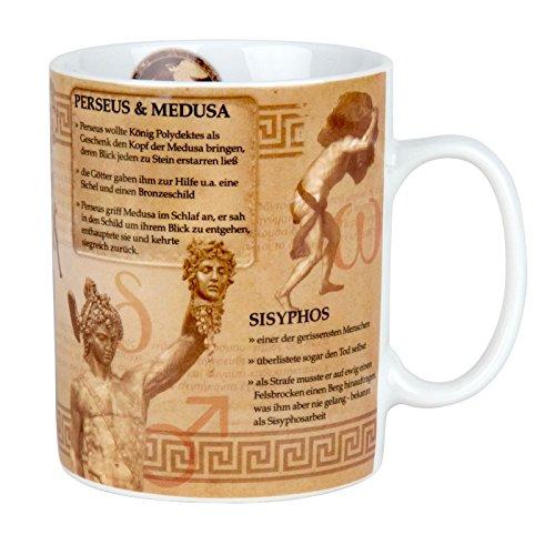 Könitz Kaffeebecher Wissensbecher Mythologie im Geschenkkarton Becher, Porzellan, Mehrfarbig, 12x9x11 cm