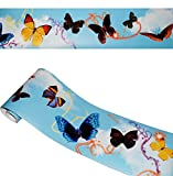 Unbekannt Wandbordüre - selbstklebend -  Bunte Schmetterlinge  - 2,5 m - Wandsticker / Wandtattoo - Bordüre Aufkleber - für Küche / Wohnzimmer / Badezimmer - Kinder &..