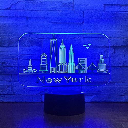 HDZWW Illusion-Nachtlicht 3D, LED-Tisch-Schreibtisch-Lampen, York City-Gebäude 3D-Nachtlicht bunt, 7 Farben USB-Gebühr, die Schlafzimmer-Dekoration für Kinder Weihnachten Halloween-Geburtstagsgeschenk