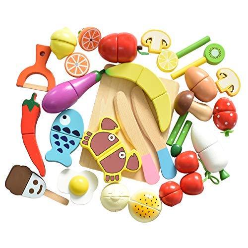 HOWADE Play Food Set 30 Stück, Holz Schneiden Essen magnetische Obst und Gemüse Küche Set pädagogisches Spielzeug für Vorschulalter Kinder Kleinkinder Jungen Mädchen Bonus-küche