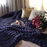 Kqpoinw Gestrickte Decke, Grobe Strickdecke Merino Wolle Garn Arm stricken werfen Super große klobige stricken Decke Haustier Bett Stuhl Sofa Yoga Matte Teppich (40*60inches(100*150cm), Navy Blue)