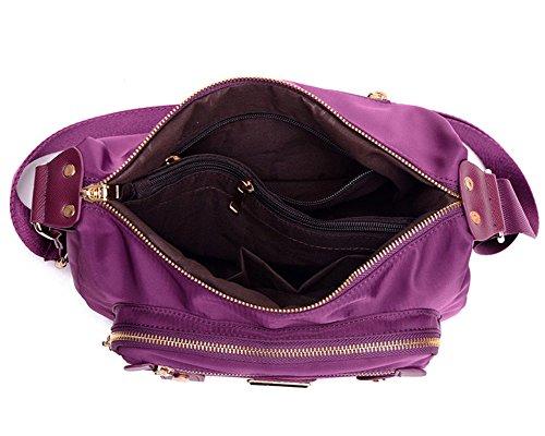 Donne Casuale Multi-Tasca Borsa A Tracolla Impermeabile Nero Viola