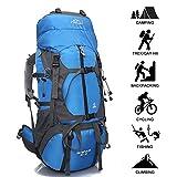 Zaino Da Escursionismo 55L, Zaino Alpinista Traspirante Grande Per Uomini Donne All'aperto Gli Sport Trekking In Viaggio,Blue-55L+10L