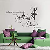 yaoxingfu Calcomanía de Pared para la habitación de la niña de Nursery - Bailarina con música en la Pared Pegatina de Vinilo Inspiration Dancing QuotesMuralDiy57x41cm