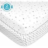 American Baby Company 2 Piece Printed 100% Cotton Jersey Knit Fitted Crib Sheet, Grey Stars And Zig Zag