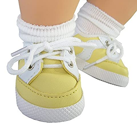 Yellow Gym Shoes for Bitty Baby + Twins by Doll Clothes Sew Beautiful by Doll Clothes Sew Beautiful