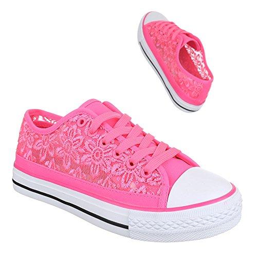 Low-Top Sneaker Damenschuhe Low-Top Sneakers Schnürsenkel Ital-Design Freizeitschuhe Pink