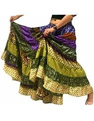 1 - 7 Yard Tribal Gypsy Maxi Tiered Falda Belly Dancing Faldas Seda Blend Banjara Se ajusta S M L XL, un talla 34 - 46 (Tonos verdes)