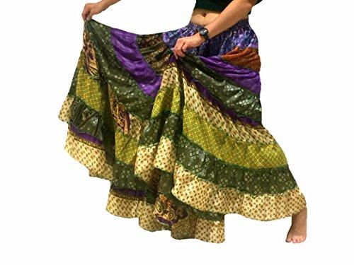 Folk Kostüme Tanz (1 - 7 Yard Tribal Zigeuner Maxi Tiered Rock Bauchtanz Röcke Seide Blend Banjara Passend für S M L XL, ONE GRÖSSE 34 - 46 (Grüne)