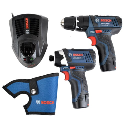 Bosch Professional GSB L-Boxx 10.8-2-LI + GDR 10.8-LI Cordless Combi/Impact Drill with Two 10.8 V 2.0 Ah Lithium-Ion Batteries - Pack of 2