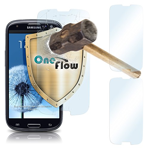 2x OneFlow 9H Panzerfolie für Samsung Galaxy S3 Panzerglas Display Glasfolie [Tempered Glass] Screen protector Glas Displayschutz-Folie für Samsung Galaxy S3 / S III Neo Schutzfolie - Display gewölbt, Folie bewusst kleiner Screen Protection Für Galaxy S3