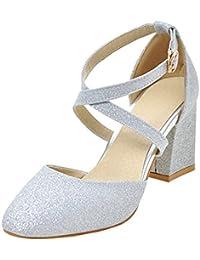 UH Damen Glitzer High Heels Geschlossen Pumps mit Riemchen und Schnalle Bequeme Blockabsatz Schuhe