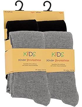 2er oder 4er Set Kinder Strumpfhosen, Baumwolle, Mädchen und Jungen Strumpfhose (Öko-Tex Standard 100 Zertifiziert)