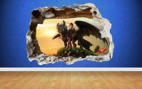 Preisvergleich Produktbild How To Train Your Dragon 3D Stil zerstörten Wand Aufkleber Kinder Schlafzimmer Vinyl Art, Large: 80cm x 58cm