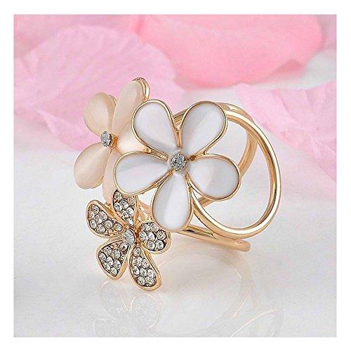 2 Stk Korean Fashion Frauen Nette Kristall Blume Schal Clip Kreis Kanal Pin Party Brosche Gold von MAXGOODS