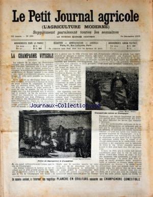 PETIT JOURNAL AGRICOLE (LE) [No 521] du 24/12/1905 - LA CHAMPAGNE VITICOLE - LES CHAMPS - LA FERME - LES VIGNES - PETITES CULTURES par Collectif