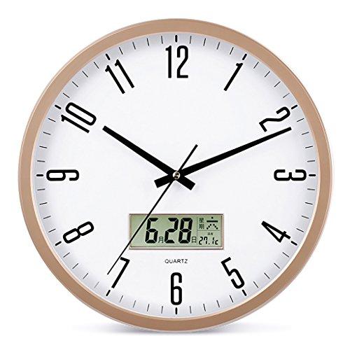 ZML Horloge Murale, Non-coutil, Horloge silencieuse Ronde de Quartz DE 14 Pouces