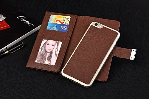 iPhone Case Cover Normallack 3 Faltender lederner Fall-Abdeckungs-Mappen-Kasten mit Karte Bargeldschlitz und Foto-Fenster-Muster für IPhone 6S Plus ( Color : Brown , Size : IPhone 6s Plus ) Brown