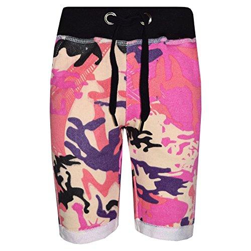 A2Z 4 Kids Jungen Shorts Kurze Hose Kinder Vlies - Boys Fleece Shorts Camo Baby Pink 3-4 -