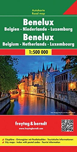 Benelux. Bélgica, Holanda y Luxemburgo, mapa de carreteras. Escala 1:500.000. Freytag & Berndt. (Auto karte) por VV.AA.