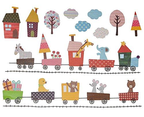 2 Set´s: Wandtattoo / Wandsticker / Fensterbilder - Nostalgie + Retro Kinder - mittel - Aufkleber Wandaufkleber für Mädchen Jungen - Bäume Eulen Fahrzeuge Zug Igel Zootiere - Wie bei Großmutter