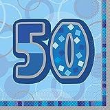 Unique Party -  Servilletas de Papel de 50 Cumpleaños - Azul Brillante - Paquete de 16 (28462)