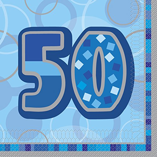 bling-party-decorations-and-tableware-for-50th-birthday-in-blue-glitz-sparkle-50-napkins