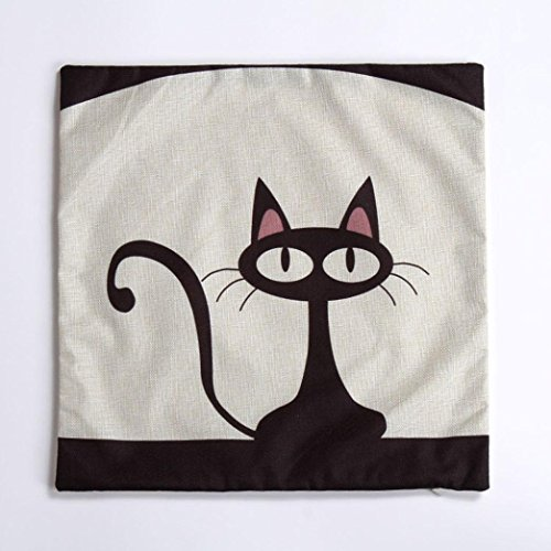 Saingace Cute Cat Cotton Linen Square Decorative Throw Pillow Case Cushion Cover 18″ x 18″