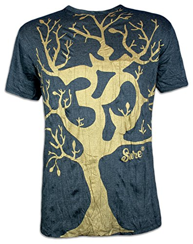 Sure T-Shirt Herren Om Baum des Lebens Hinduismus Yoga Shirt (Schwarz-Gold L)