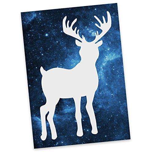 Mr. & Mrs. Panda Postkarte Hirsch - Hirsch, Brunft, REH, Rehkitz, Wald, Waldfamilie Postkarte, Geschenkkarte, Grußkarte, Karte, Einladung, Ansichtskarte, Sprüche