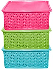 Kuber Industries Plastic 3 Pieces Multipurpose Solitaire Storage Basket with Lid