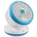 kazoj 2in1 USB Akku Mini Ventilator mit Sprühnebel/Luftbefeuchter Funktion in hellblau