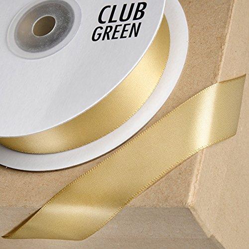 Club Green Double Ruban de Satin, Doré Clair, 6 mm x 25 m
