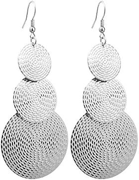 2LIVEfor Lange Ohrringe Silber Tropfen Ohrringe lang Hängend Groß Antik Optik Blatt Rund Ohrringe Bohemian Ohrringe...