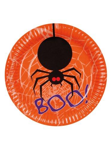 Generique - 6 Pappteller mit Spinne (Halloween Spinnen Pappteller)