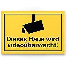 Dieses Haus wird videoüberwacht Schild, Infozeichen Videoüberwachung (30 x 20cm), Hinweissschild, Warnhinweis Videoüberwacht für Einbrecher-Schutz, Angelehnt an DIN 33450