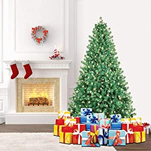 SHareconn Premium Künstlicher Weihnachtsbaum mit Stabilem Ständer und 300 Beleuchtung LED, Tannenbaum inkl. Metall Christbaum Ständer 198cm