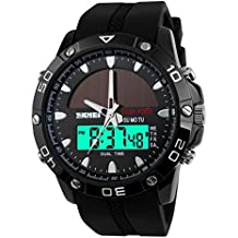 Skmei 1064 Hombres deporte al aire libre relojes Dual Time Display Reloj Solar 50m resistente al