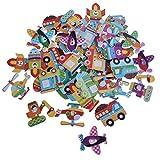 non-brand Sharplace 50 Stück Karikatur Holzknöpfe Kinderknöpfe Für Nähen Handwerk Scrapbooking DIY - Gemischter Transport, 32 x 25mm
