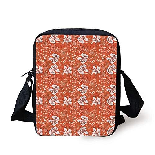 Orange,Hawaiian Pattern with Tropical Climate Hibiscus Flowers Abstract Summer Flourish Decorative,Orange White Print Kids Crossbody Messenger Bag Purse -