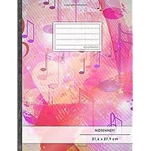 """Notenheft: DIN A4 • 48 Seiten, 24 Blatt, 12 Systeme, """"Wasserfarben"""" • Original #GoodMemos Schulheft • Mit Inhaltsverzeichnis und Seitenzahlen, Noten-Lineatur 14"""