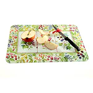Planche à découper en verre lisse déco fruits