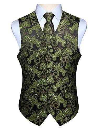 Hisdern Manner Paisley Floral Jacquard Weste & Krawatte und Einstecktuch Weste Anzug Set, Olive & Black, Gr.-5XL (Brust 60 Zoll) -