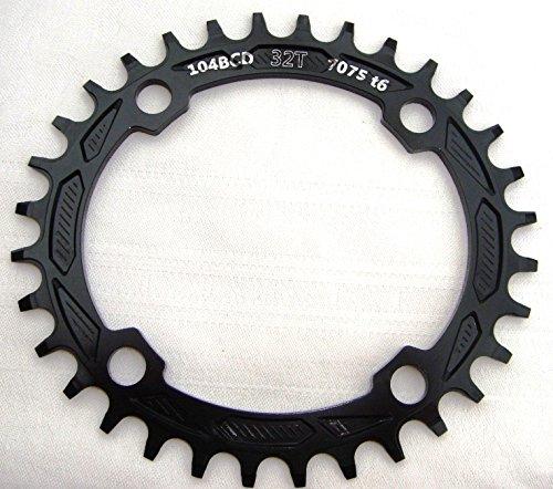 Plato de aluminio BCD, 104 mm, 32 T, 34 T, 36 T, 38 T, color Negro , tamaño 32T