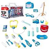 YAKOK 25Pcs Arztkoffer Kinder, Blau Kinder Arztkoffer Arzt Spielzeug mit Stethoskop Kinderarztkoffer für Kinder Kleinkind Junge Mädchen ab 2-5 Jahre (Blau)