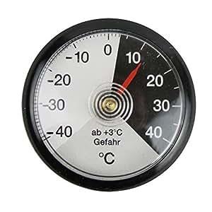 Thermomètre bimétallique analogique de voiture en plastique noir