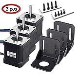 MYSWEETY 3 Pack Nema 17 Bipolaren Schrittmotor 2A 59Ncm(84oz.in) 48mm Gehäuse mit m 4-Pin Kabel & Stecker und 3er Pack Montagehalterung für 3D Drucker Printer/ CNC