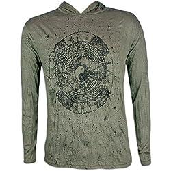 Pure Camiseta con Capucha Hombre Yin y Yang Talla M L XL Tao Artes Marciales Buda Zen Yoga Boho Hinduismo (L, Verde Oliva)