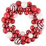 Valery Madelyn 35cm Druchmesser Weihnachtskranz Kunststoff aus 50 Weihnachtskugeln Kranz Lieber Weihnachtsmann Thema Rot Weiß Christbaumkugeln Türkranz Weihnachtsdeko Kugelkranz Weihnachtsschmuck
