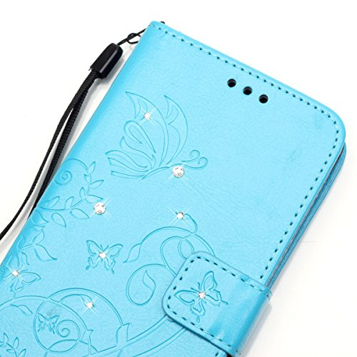 iPhone 5S Coque, iPhone SE Coque, Lifeturt [ Rouge ] Coque Dragonne Portefeuille PU Cuir Etui en Cuir Folio Housse, Leather Case Wallet Flip Protective Cover Protector, Etui de Protection PU Cuir Port E02-Bleu